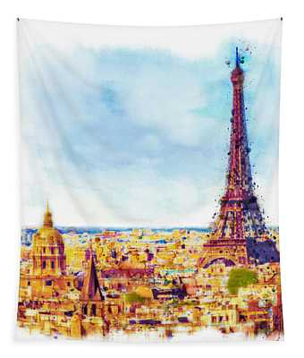 Paris Aerial View Tapestry
