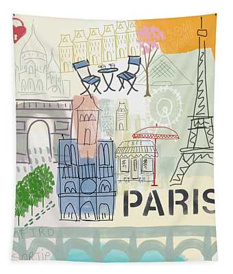 Paris Cityscape- Art By Linda Woods Tapestry