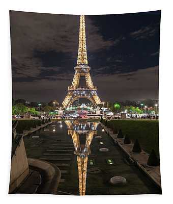 Paris Eiffel Tower Dazzling At Night Tapestry