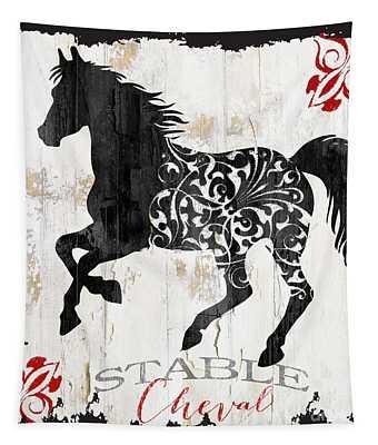 Paris Farm Sign Horse Tapestry