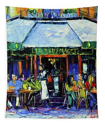 Paris Morning At Les Deux Magots - Modern Impressionism Oil Painting Mona Edulesco Tapestry