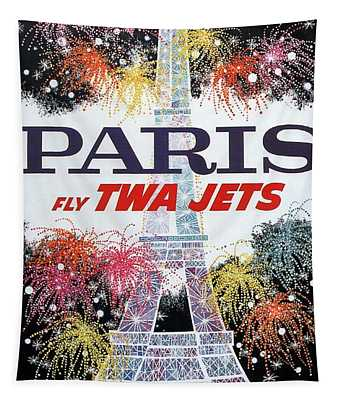Paris - Twa Jets - Trans World Airlines - Eiffel Tower - Retro Travel Poster - Vintage Poster Tapestry