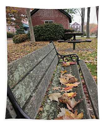Park Bench With Maple Leaves In Autumn Tapestry