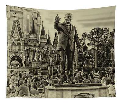 Partners Statue Walt Disney And Mickey In Black And White Tapestry