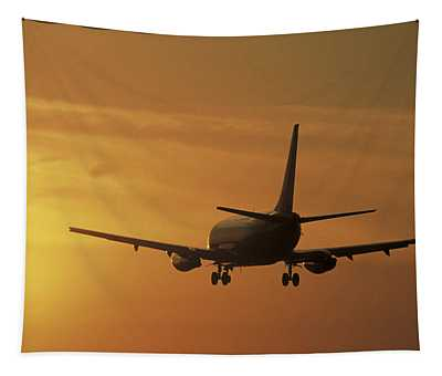 Passenger Plane Taking Off Lax Airport Tapestry