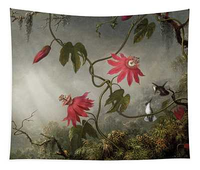 Passion Flowers And Hummingbird Tapestry