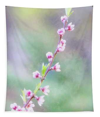 Pastel Painted Peach Blossoms Tapestry