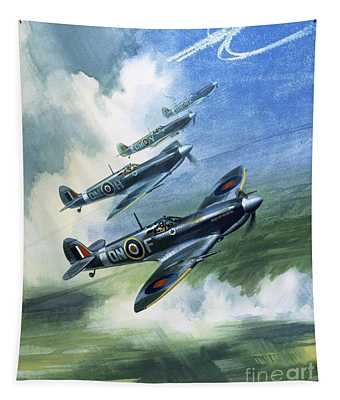 Patrolling Flight Of 416 Squadron, Royal Canadian Air Force, Spitfire Mark Nines Tapestry