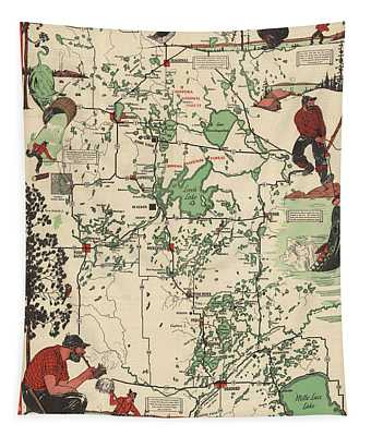 Paul Bunyan's Playground - Northern Minnesota - Vintage Illustrated Map - Cartography Tapestry