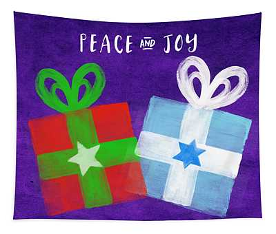 Peace And Joy- Hanukkah And Christmas Card By Linda Woods Tapestry