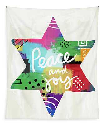 Peace And Joy Star-art By Linda Woods Tapestry