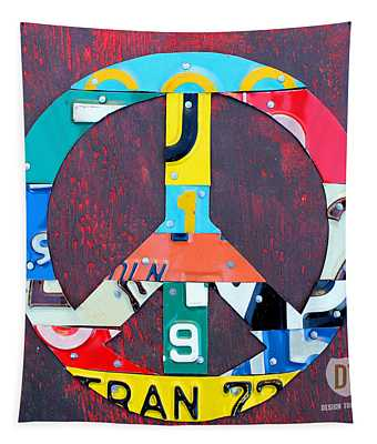 Peace License Plate Art Tapestry