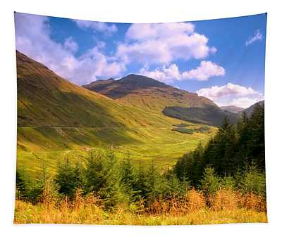Peaceful Sunny Day In Mountains. Rest And Be Thankful. Scotland Tapestry
