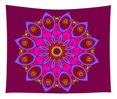 Peacock Fractal Flower II Tapestry