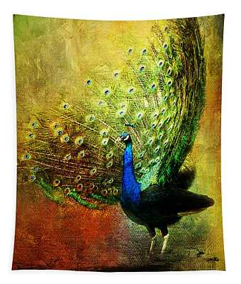 Peacock In Full Color Tapestry
