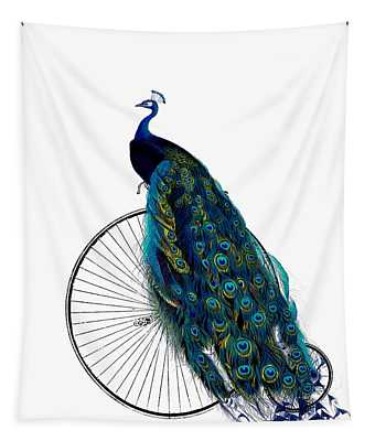 Peacock On A Bicycle, Home Decor Tapestry