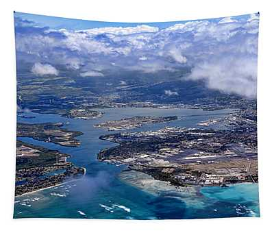 Pearl Harbor Aerial View Tapestry