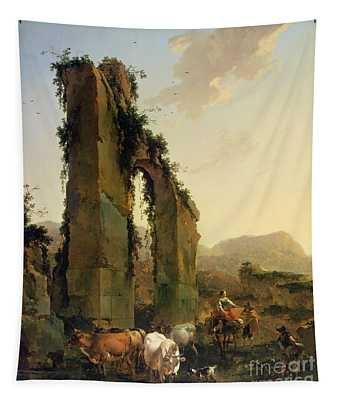 Peasants With Cattle By A Ruined Aqueduct Tapestry