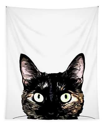 Peeking Cat Tapestry