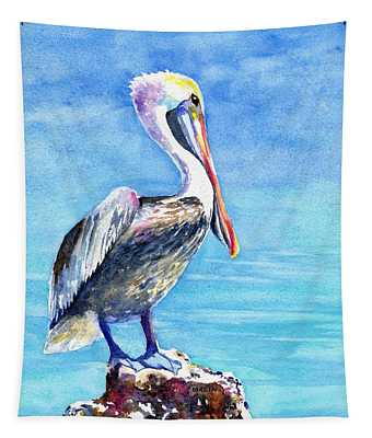 Pelican On A Post  Tapestry