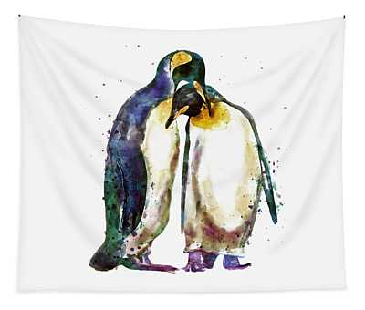 Penguin Paintings Wall Tapestries