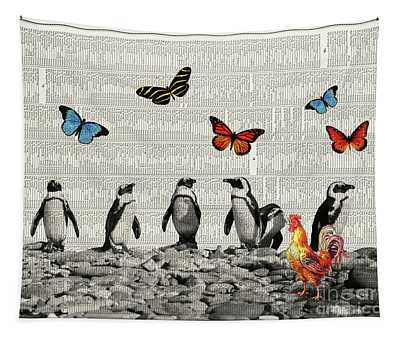 Penguins And Butterflies Tapestry