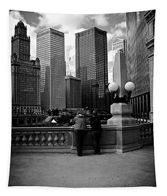 People And Skyscrapers Tapestry