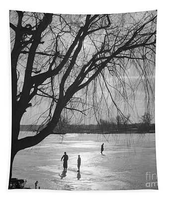 People Ice Skating On A Frozen Over Lake Tapestry