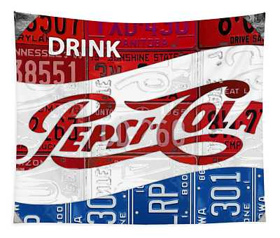 Pepsi Cola Vintage Logo Recycled License Plate Art On Brick Wall Tapestry