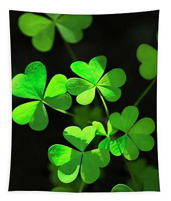 Perfect Green Shamrock Clovers Tapestry