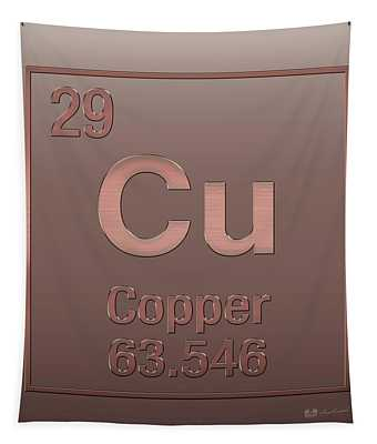 Periodic Table Of Elements - Copper - Cu - Copper On Copper Tapestry
