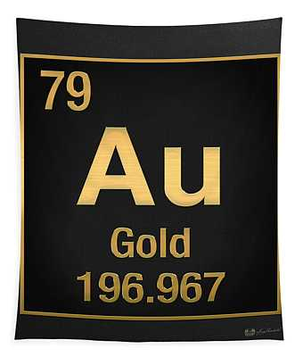 Periodic Table Of Elements - Gold - Au - Gold On Black Tapestry