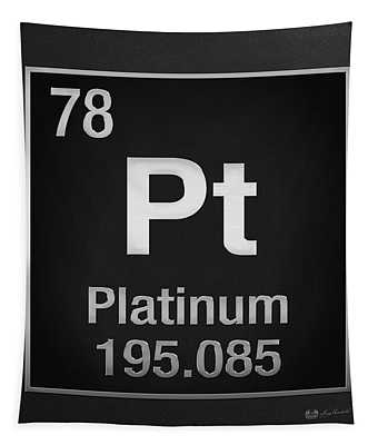 Periodic Table Of Elements - Platinum - Pt - Platinum On Black Tapestry