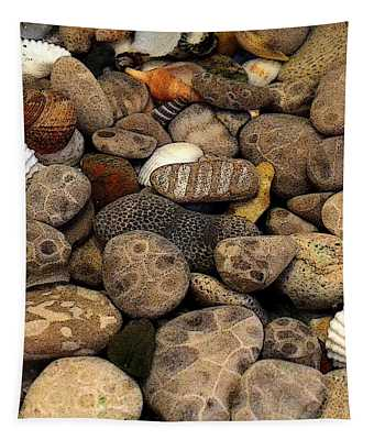 Petoskey Stones With Shells L Tapestry