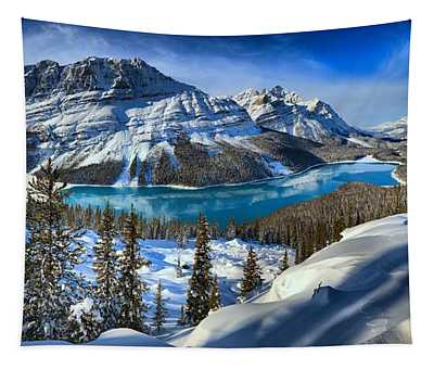 Peyto Lake Winter Panorama Tapestry