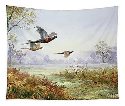 Pheasants In Flight  Tapestry