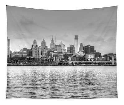 Philadelphia Skyline In Black And White Tapestry