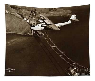Philippine Clipper A Pan Am Clipper Over The Golden Gate Bridge  1935 Tapestry