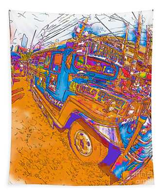 Philippine Girl Walking By A Jeepney Tapestry