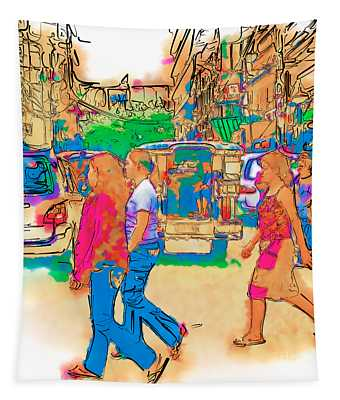 Philippine Girls Crossing Street Tapestry