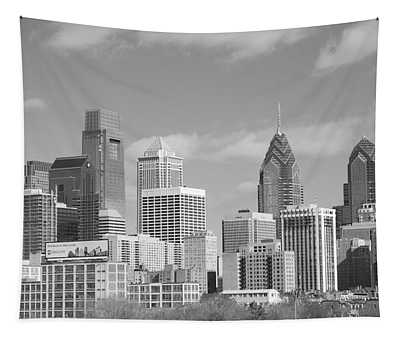 Philly Skyscrapers Black And White Tapestry