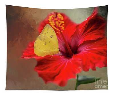 Phoebis Philea On A Hibiscus Tapestry