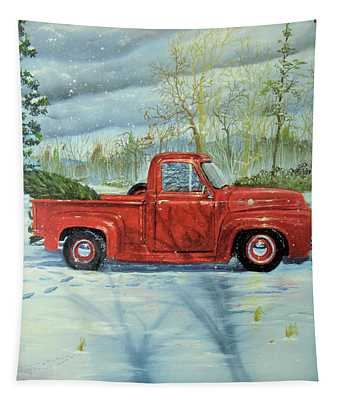 Picking Up The Christmas Tree Tapestry