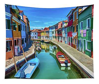 Picturesque Buildings And Boats In Burano Tapestry