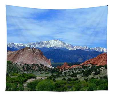 Tapestry featuring the photograph Pikes Peak And Garden Of The Gods 1 by Joseph R Luciano