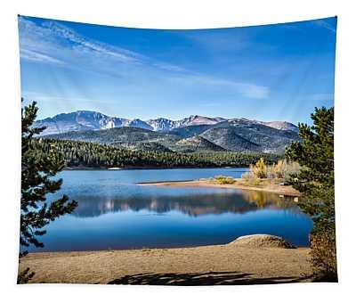 Pikes Peak Over Crystal Lake Tapestry