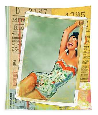 Pin Up Girl Square Tapestry