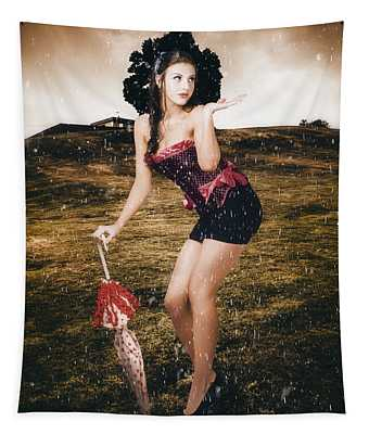 Pin Up Girl Standing In Field Under Summer Rain Tapestry