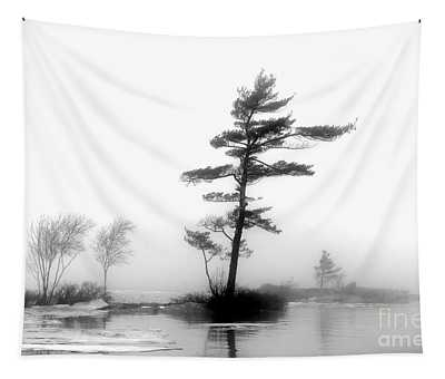 Pine Tree In Winter Fog Tapestry