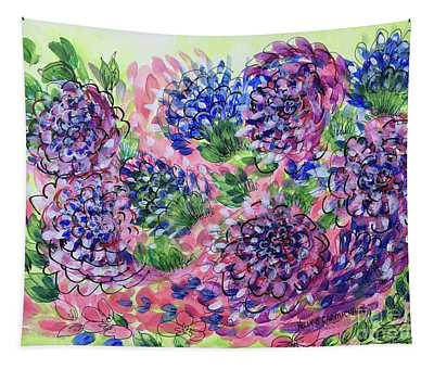 Pink And Blue Flower Flurry Tapestry
